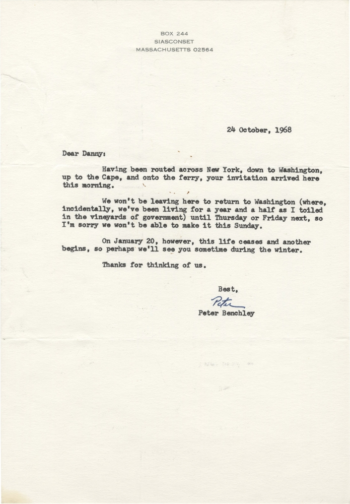 Typed Letter Signed from Peter Benchley to Daniel Selznick, 1968. Peter Benchley, Daniel Selznick, author, producer.