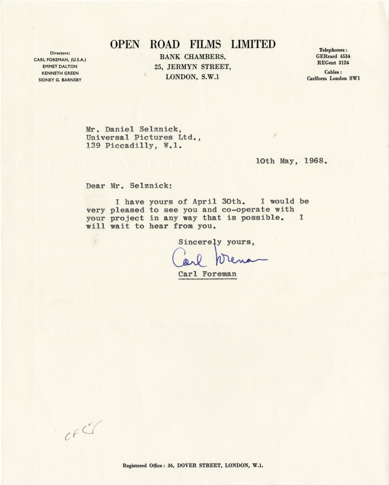 Typed letter signed from Carl Foreman to Daniel Selznick, 1968. Carl Foreman, Daniel Selznick, screenwriter, producer.