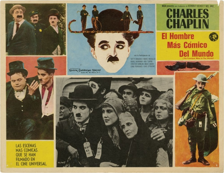 Collection of 10 Mexican Lobby Cards featuring Charlie Chaplin. Charlie Chaplin, Ricardo Montalban, Claire Bloom Dawn Addams, Gloria Swanson, Fatty Arbuckle, Buster Keaton, writer director, starring, composer, producer, narration, starring.