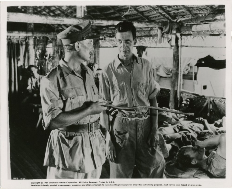 The Bridge on the River Kwai. David Lean, Pierre Boulle, Alec Guinness William Holden, director, novel, starring.