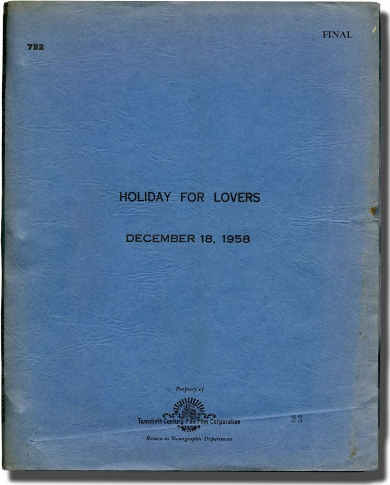 Holiday for Lovers. Henry Levin, Luther Davis, Ronald Alexander, Jane Wyman Clifton Webb, Carol Lynley, Jill St. John, director, screenwriter, play, starring.