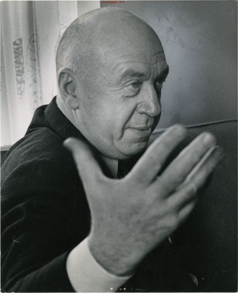 "Otto Preminger talks about ""The Cardinal"" Otto Preminger, Tony Spina, photographer."