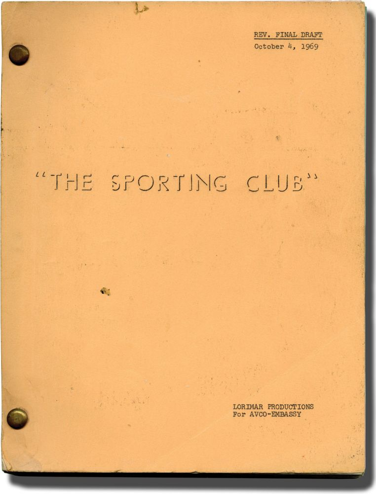 The Sporting Club. Thomas McGuane, novel, Larry Peerce, director, Lorenzo Semple Jr., screenwriter, Nicolas Coster Robert Fields, Jack Warden, Margaret Blye, starring.