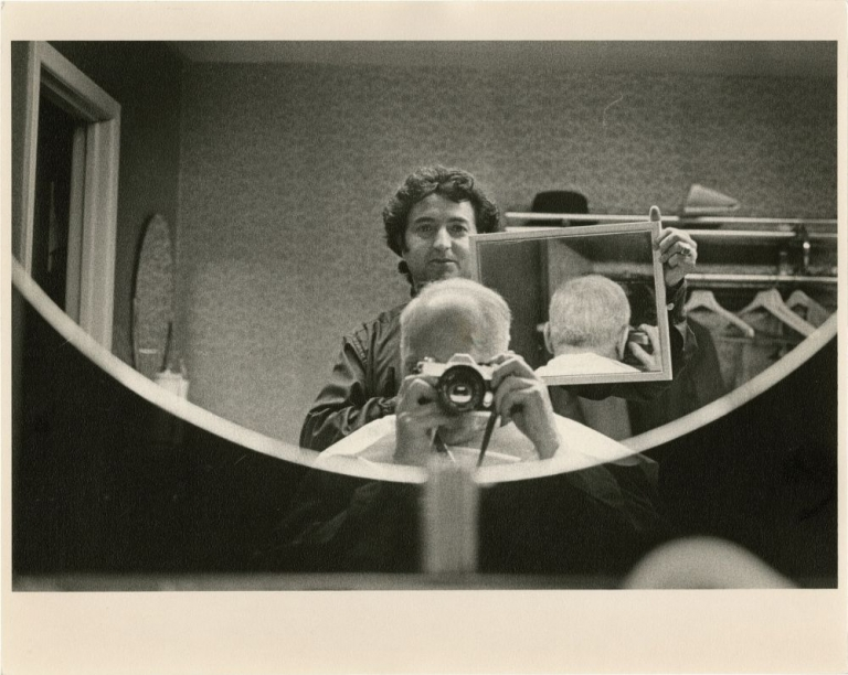 Andre Kertesz: Self portrait #2: Barber Shop Mirror. Andre Kertesz, photographer.