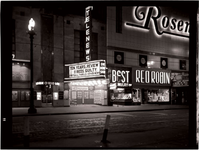 Archive of over 200 original inter-negatives from the Cleveland, Ohio Telenews Theater. Telenews Theater, George Howard Burrrows, Frank J. Koza, architect, manager photographer.