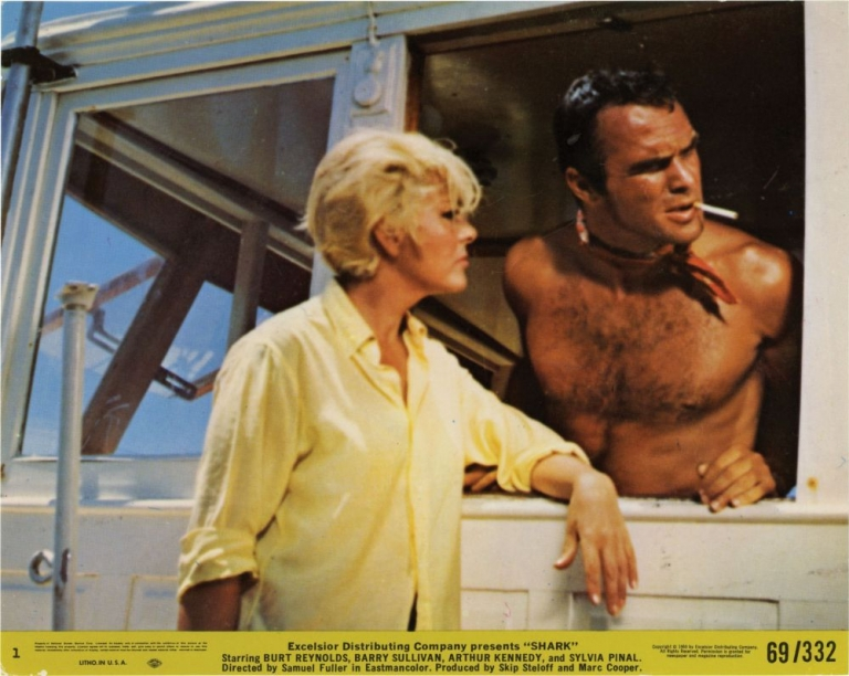 Shark. Samuel Fuller, Burt Reynolds, director, starring.