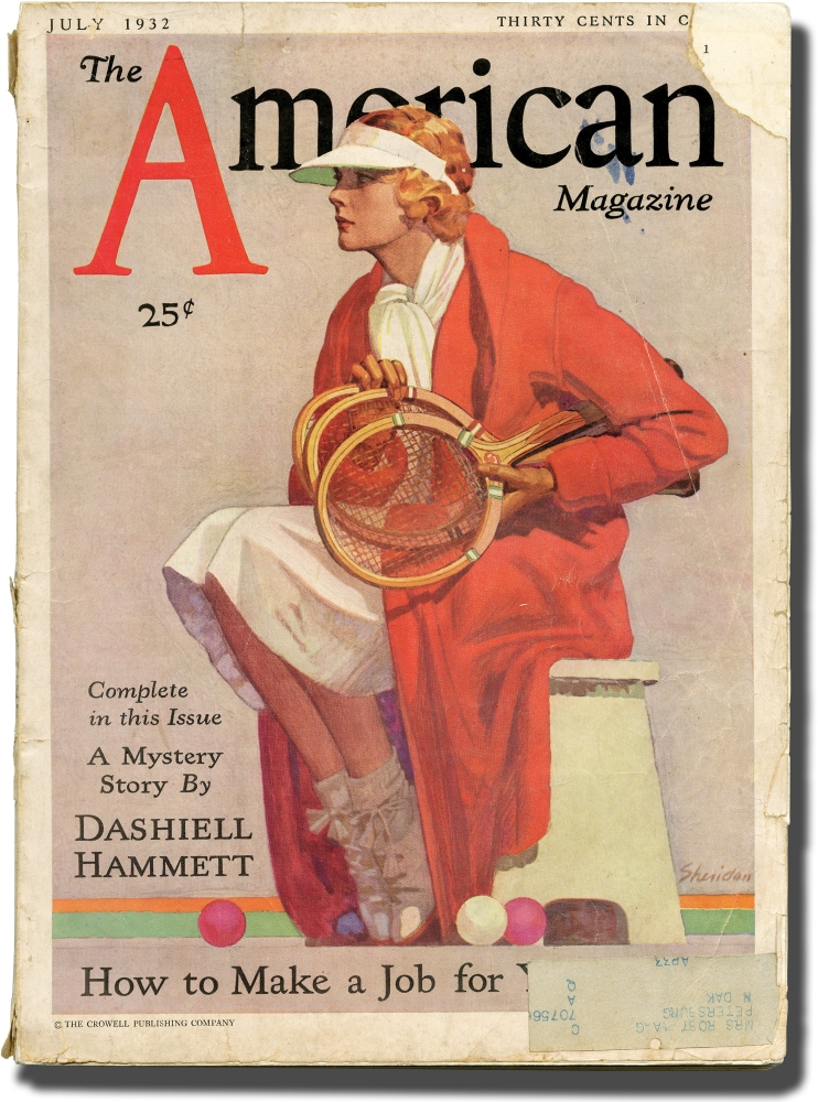"""A Man Called Spade"": first appearance in The American Magazine, July 1932. Dashiell Hammett."