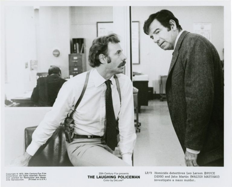 The Laughing Policeman. Stuart Rosenberg, Thomas Rickman, Per Wahloo Maj Sjowall, Bruce Dern Walter Matthau, Louis Gossett Jr, director, screenwriter, novel, starring.