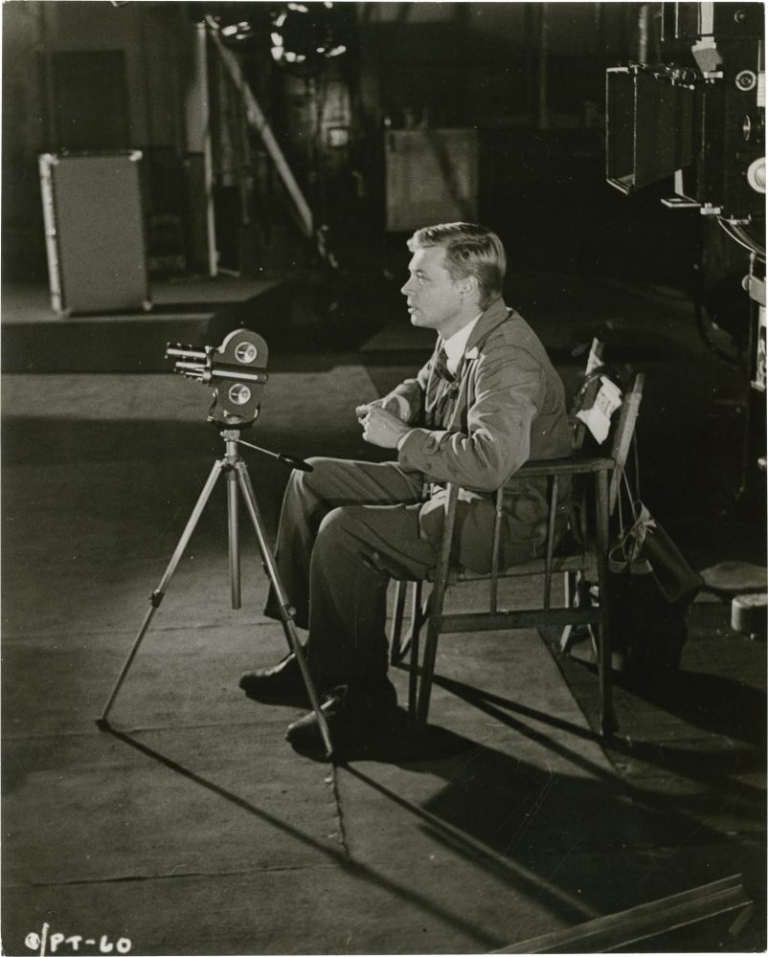"Carl Boehm on the set of ""Peeping Tom"" Michael Powell, director, Norman Gryspeerdt, photographer, Carl Boehm, starring."