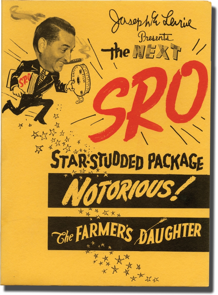 """Original promotional folder for a """"package"""" of Notorious (1946) and The Farmer's Daughter. Joseph E. Levine, H. C. Potter Alfred Hitchcock, Joseph Cotten Loretta Young, Ingrid Bergman, Cary Grant, producer, directors, starring."""