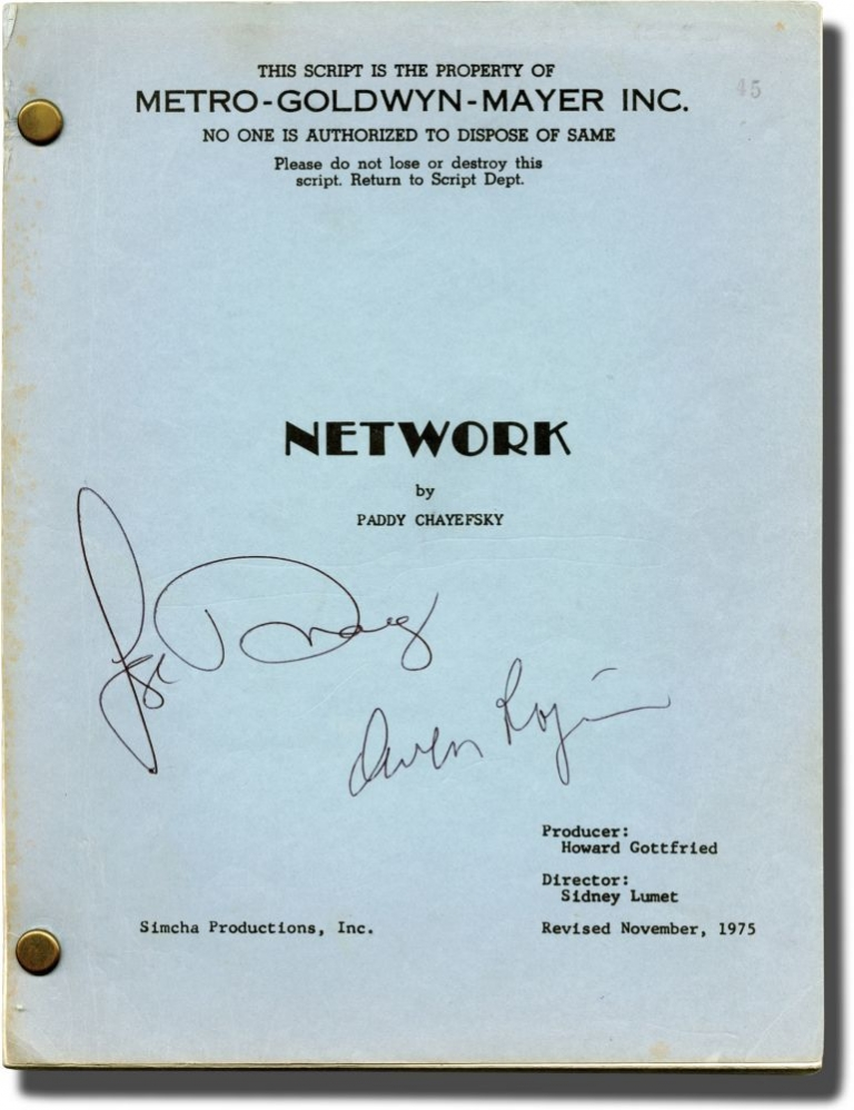 Network. Sidney Lumet, Paddy Chayefsky, William Holden Faye Dunaway, Robert Duvall, Peter Finch, director, screenwriter, starring.