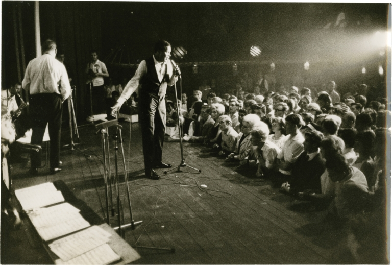 Archive of photographs featuring Chubby Checker on stage, circa 1963. Michael Montfort, Chubby Checker, photographer, subject.