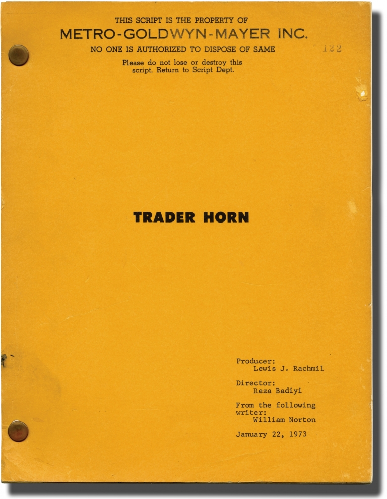 Trader Horn. Reza Badiyi, Ethelreda Lewis, Edward Harper WIlliam Norton, Anne Heywood Rod Taylor, Don Knight, Jean Sorel, director, book, screenwriters, starring.