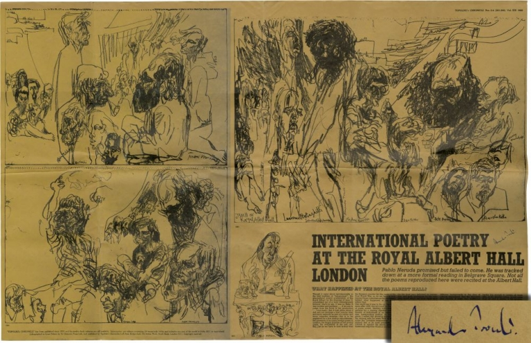 Original broadside for a reading at the Royal Albert Hall on June 11, 1965, signed by Trocchi. Alexander Trocchi, Feliks Topolski, contributor.