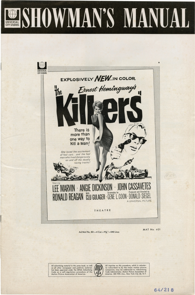 The Killers. Ernest Hemingway, Don Siegel, Gene L. Coon, Angie Dickinson Lee Marvin, Ronald Reagan, John Cassavetes, story, director, screenwriter, starring.