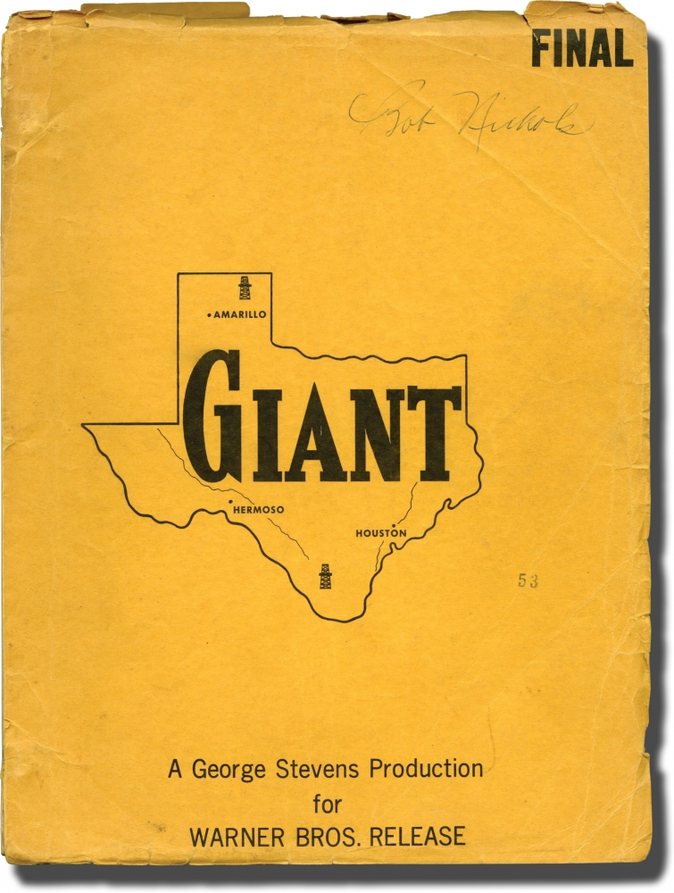 Giant. George Stevens, Ivan Moffat Fred Guiol, Rock Hudson Elizabeth Taylor, Carroll Baker, James Dean, producer director, screenwriters, starring.