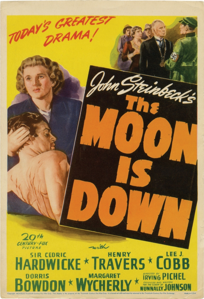 The Moon Is Down. Irving Pichel, John Steinbeck, Nunnally Johnson, Henry Travers Sir Cedric Hardwicke, Dorris Bowdon, Lee J. Cobb, director, novel, screenwriter, starring.