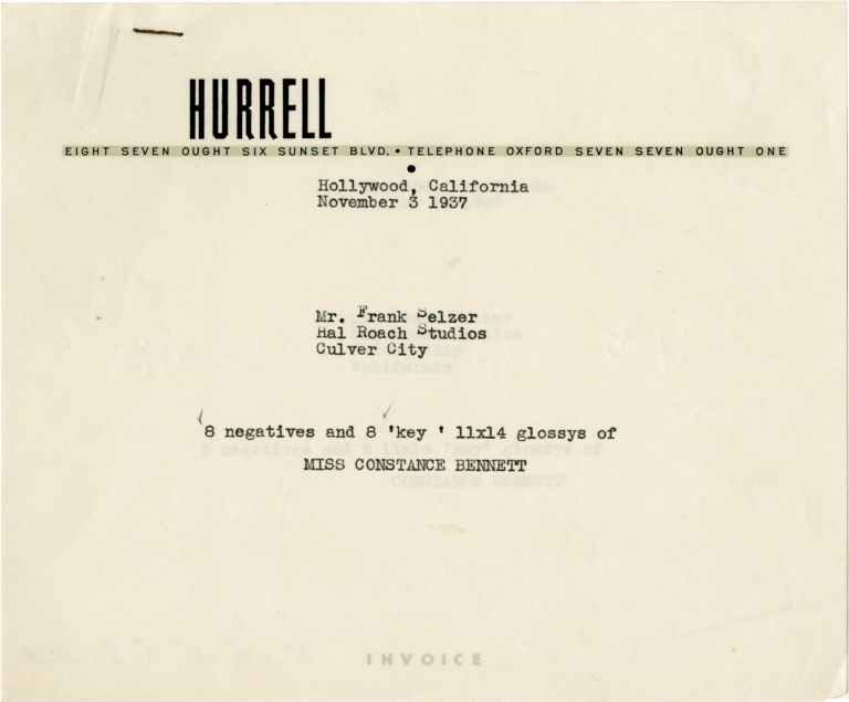 """Hal Roach archive of letters relating to the promotion of """"Topper"""" Hal Roach, George Hurrell, Cary Grant Constance Bennett, producer, photographer, starring."""