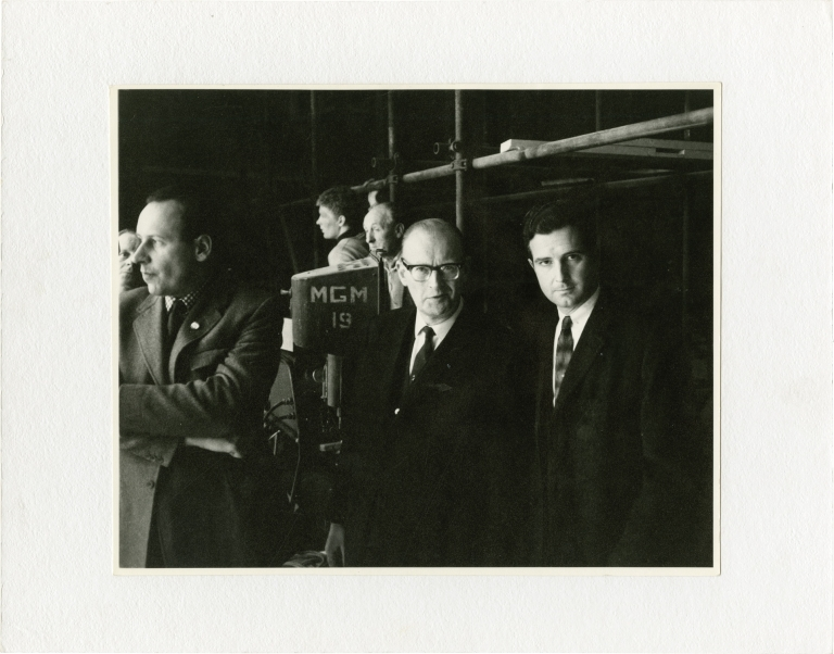 """Archive of production photographs and ephemera from """"2001: A Space Odyssey,"""" from the collection of scientific advisor Frederick I. Ordway III. Stanley Kubrick, Arthur C. Clarke, Frederick I. Ordway III, Harry Lange, screenwriter director, screenwriter, scientific consultant, production designer."""