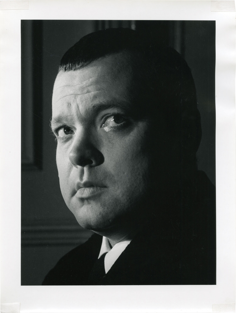 Photographic portrait of Orson Welles by Jane Bown. Orson Welles, Jane Bown, photographer.