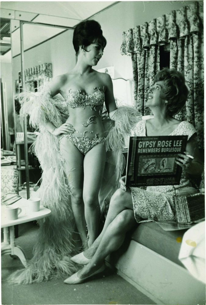 """Natalie Wood and Gypsy Rose Lee on the set of """"Gypsy"""" in 1962. Natalie Wood, Gypsy Rose Lee, Arthur Laurents, starring, memoir subject, play."""