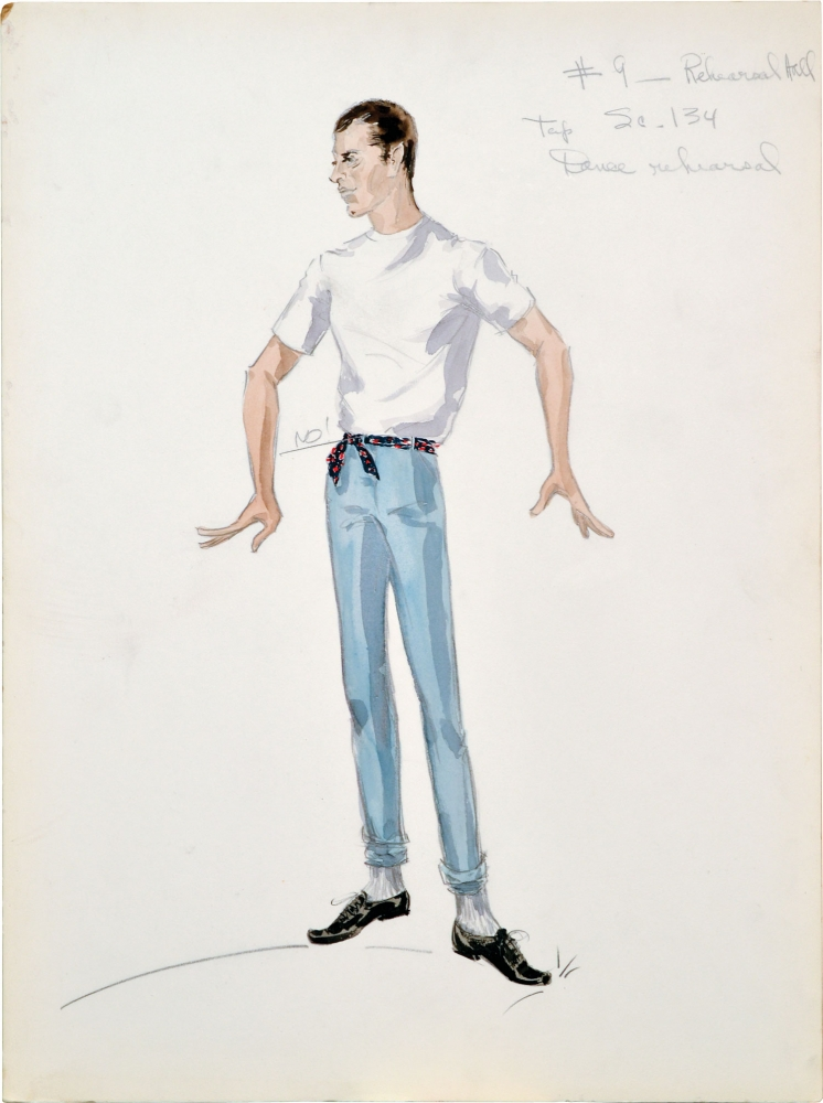 "Four original costume designs for the film ""Artists and Models"" done by Edith Head. Jerry Lewis, Edith Tashlin Head, Frank, Hal Kanter Herbert Baker, Jerry Lewis Dean Martin, Eva Gabor, Dorothy Malone, Shirley MacLaine, costume designer, director, screenwriters, starring."
