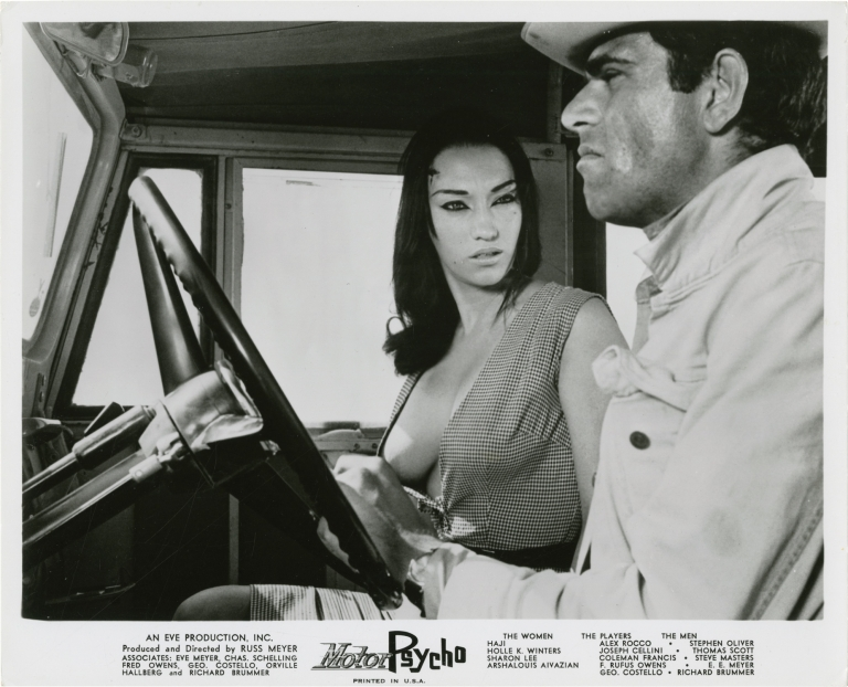 Motorpsycho. Russ Meyer, Billy Sprague Ross Massbaum, Alex Rocco Haji, Holie K. Winters, Steve Oliver, screenwriter director, still photographer, screenwriter, starring.