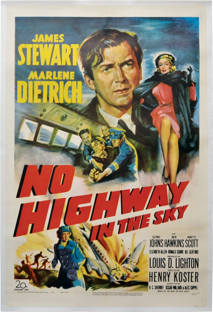 No Highway in the Sky. Henry Koster, Nevil Shute, Oscar Millard R C. Sherriff, Alec Coppel, Marlene Dietrich James Stewart, Glynis Johns, director, novel, screenwriter, starring.