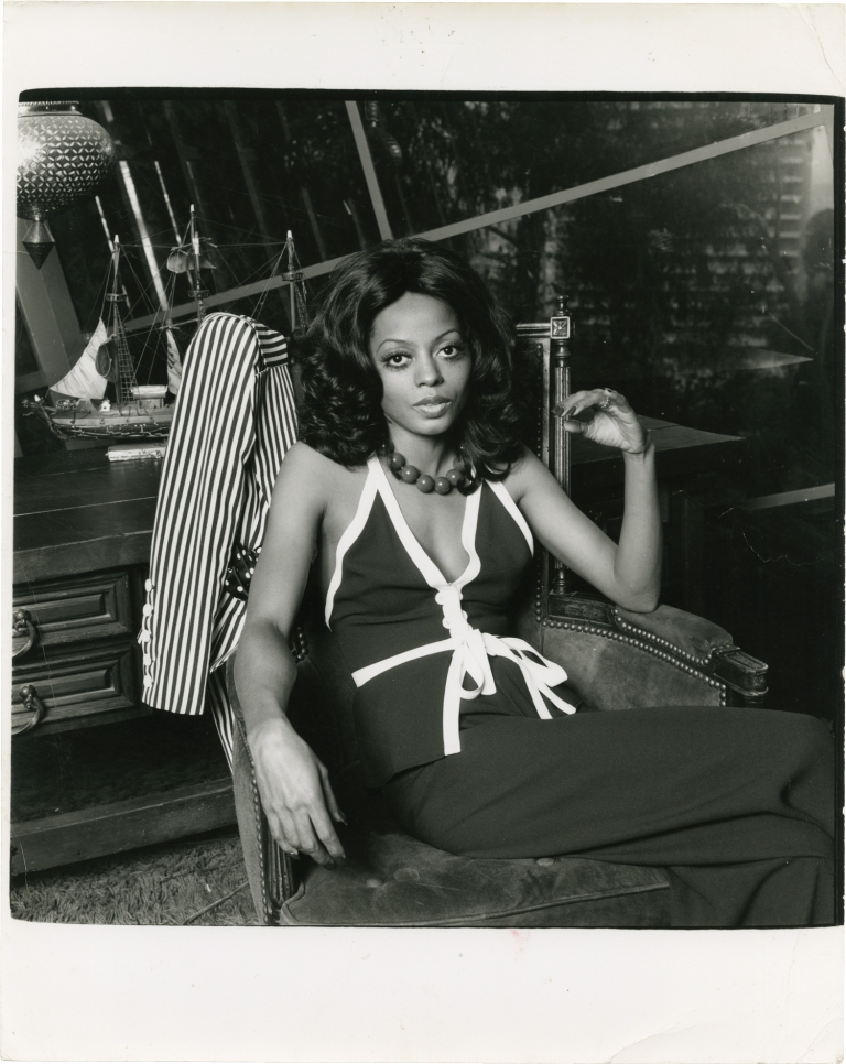 Original double weight photograph of Diana Ross, 1974. Diana Ross, Harry Langdon, subject, photographer.
