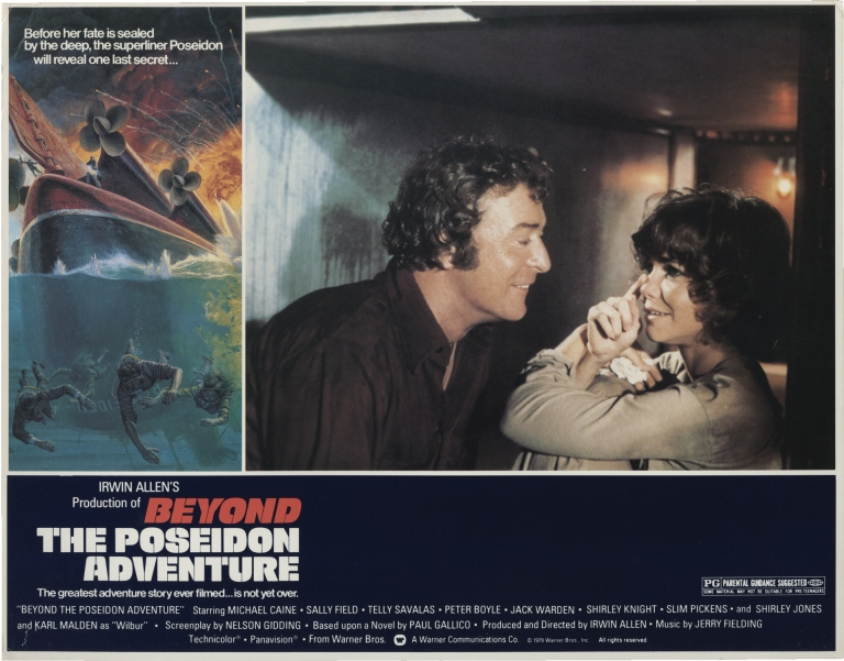 Beyond the Poseidon Adventure. Irwin Allen, Paul Gallico, John Monte, Nelson Gidding, Sally Field Michael Caine, Telly Savalas, director, novel, still photographer, screenwriter, starring.