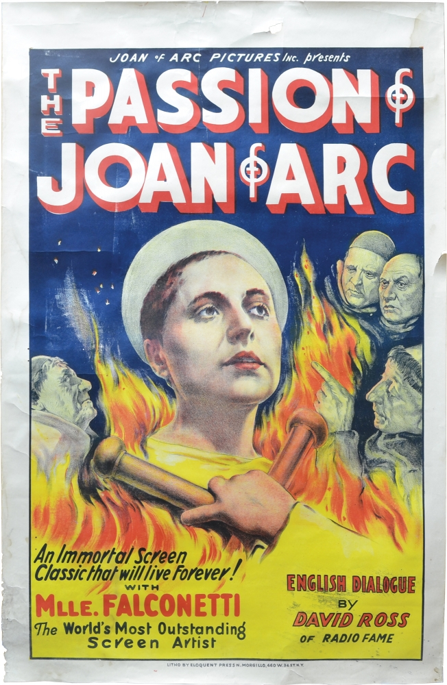 The Passion of Joan of Arc. Carl Theodor Dreyer, director, Rudolph Mate, cinematographer, Maria Falconetti, starring.