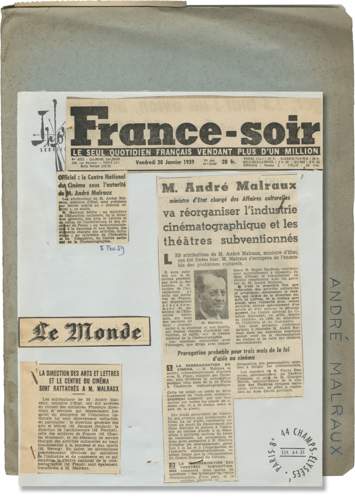 The French Ministry of Culture. Cinedis, Andre Malraux, Jacques Jaujard.