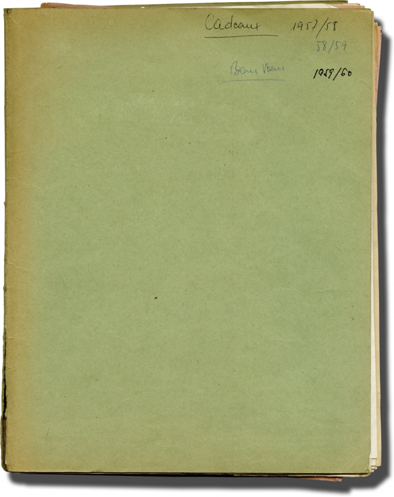 Archive of original Christmas gift lists for Cinedis film agency journalists. Cinedis, Christian de la Maziere, Maryse Martres.