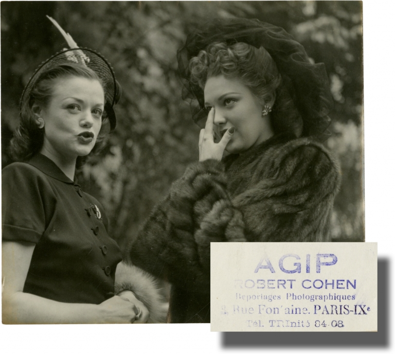 Original photograph of Linda Darnell and Simone Simon. Robert Cohen, Simone Simon, Linda Darnell, photographer, subjects.