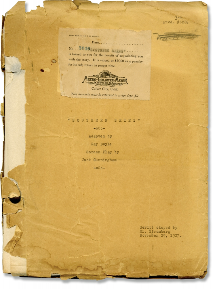"""Archive of material on """"White Shadows in the South Seas"""" [Southern Skies] from the estate of Monte Blue. W. S. Van Dyke, Frederick O'Brien, Jack Cunningham, Ray Doyle, Raquel Torres Monte Blue, director, novel, screenwriter, adaptation, starring."""