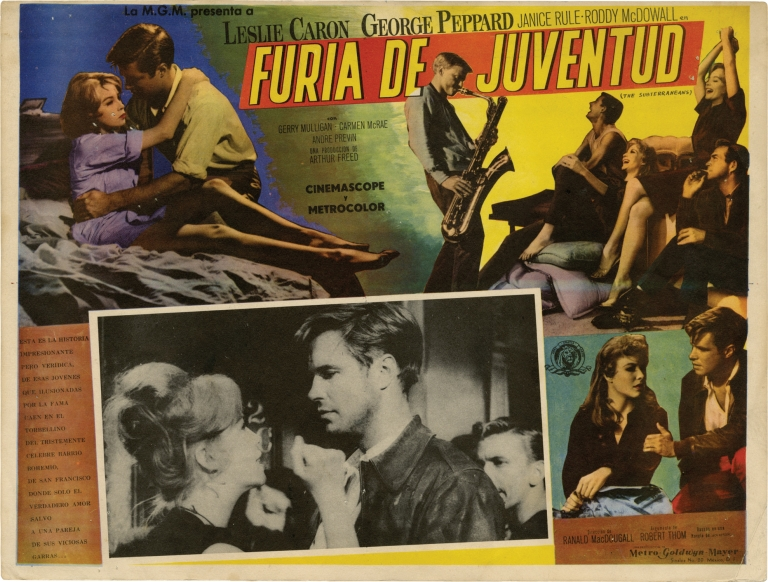 Furia De Juventud [The Subterraneans]. Ranald MacDougall, Jack Kerouac, Robert Thom, George Peppard Leslie Caron, Janice Rule, director, novel, screenwriter, starring.