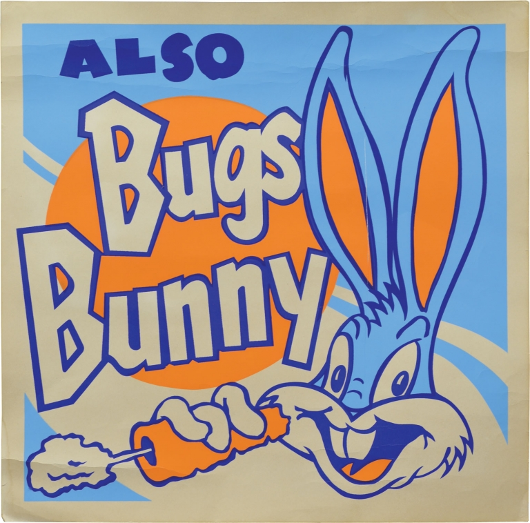Collection of four original Looney Tunes silkscreens, circa 1960s, featuring Bugs Bunny, Porky Pig, Sylvester the Cat, and Tweety Bird. Looney Tunes.