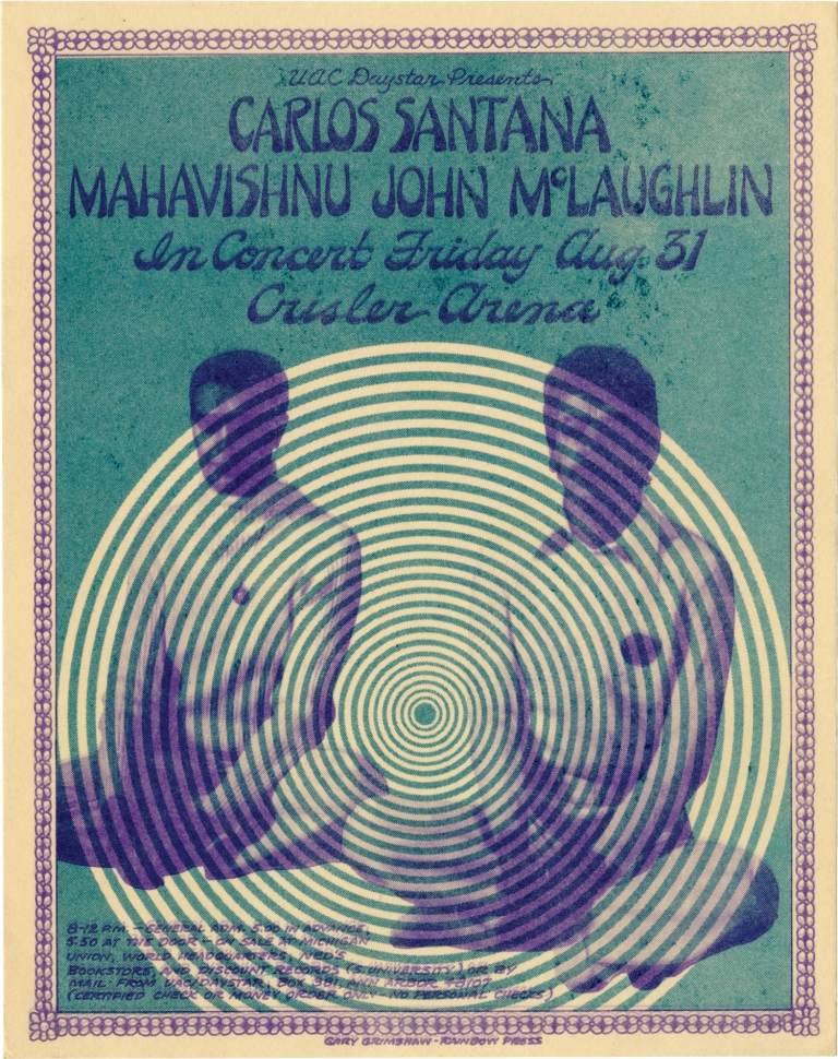 Original flyer for a performance on the Love Devotion Surrender tour featuring Mahavishnu John McLaughlin and Carlos Santana. Carlos Santana, Mahavishnu John McLaughlin, subjects.