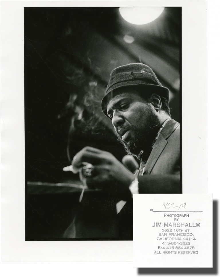 Original photograph of Thelonious Monk, circa 1962. Thelonious Monk, subject, Jim Marshall, photographer.