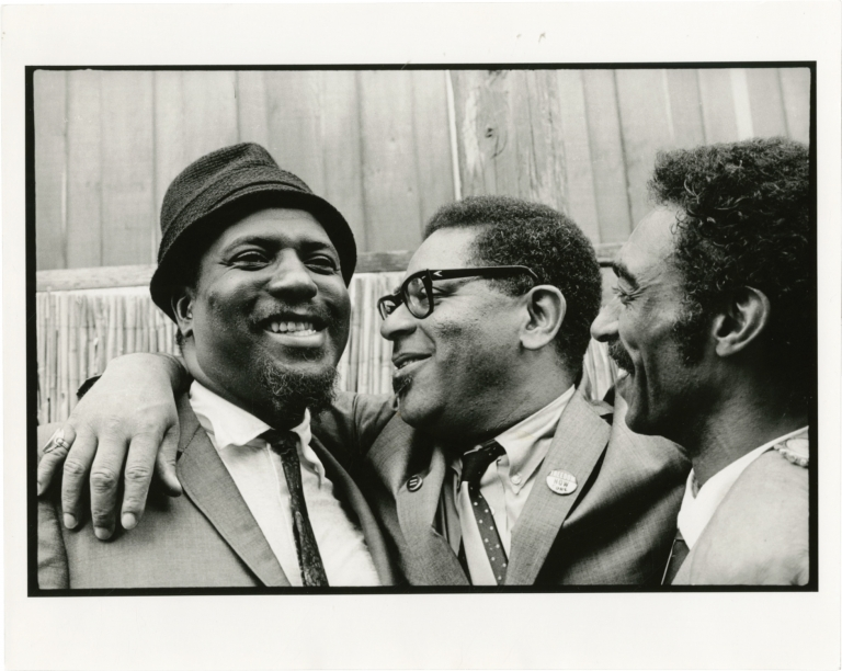 Original double weight photograph of Thelonious Monk, Dizzy Gillespie, and Gerald Wilson. Thelonious Monk, Gerald Wilson Dizzy Gillespie, Jim Marshall, subjects, photographer.
