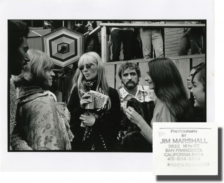 Original double weight photograph of Dennis Hopper, Brian Jones, and Nico at the Monterey Pop Festival, 1967. Brian Jones Dennis Hopper, Nico, Jim Marshall, subjects, photographer.