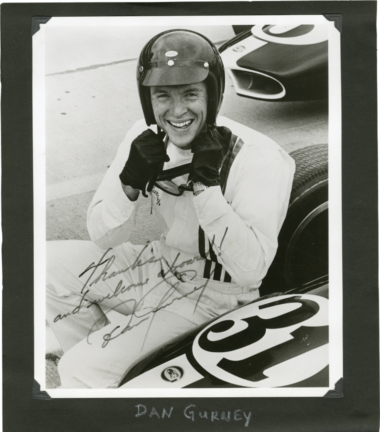 An album of over 20 years of photographs of open wheel auto racing. Automobile Racing, John E. Cory, Ed Kirchner Frank Smith, collector, photographers.