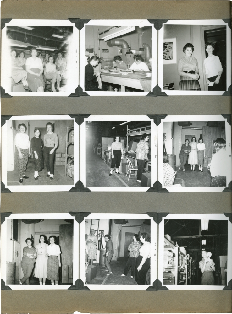 Photo album of Margaret Embree, including images of women factory workers during World War II. World War II, Margaret Embree, photographer.