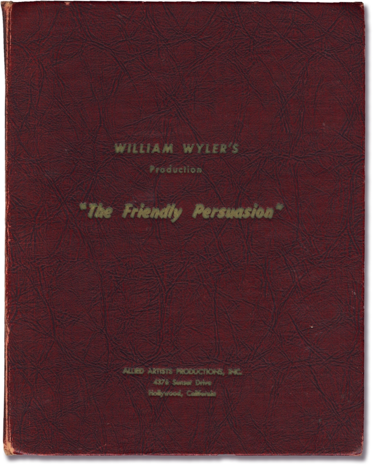 Friendly Persuasion. Jessamyn West, William Wyler, Dorothy McGuire Gary Cooper, Anthony Perkins, novel, director, starring.