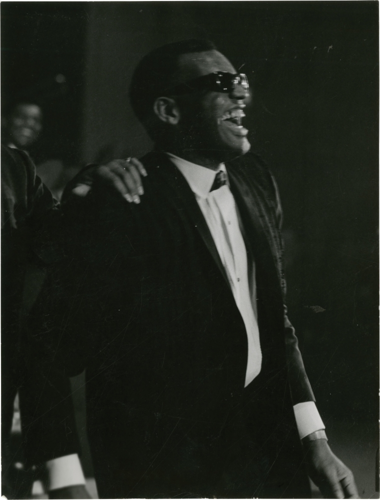 Two original photographs of Ray Charles in France, 1961. Ray Charles, subject, Jean-Pierre Leloir, photographer.