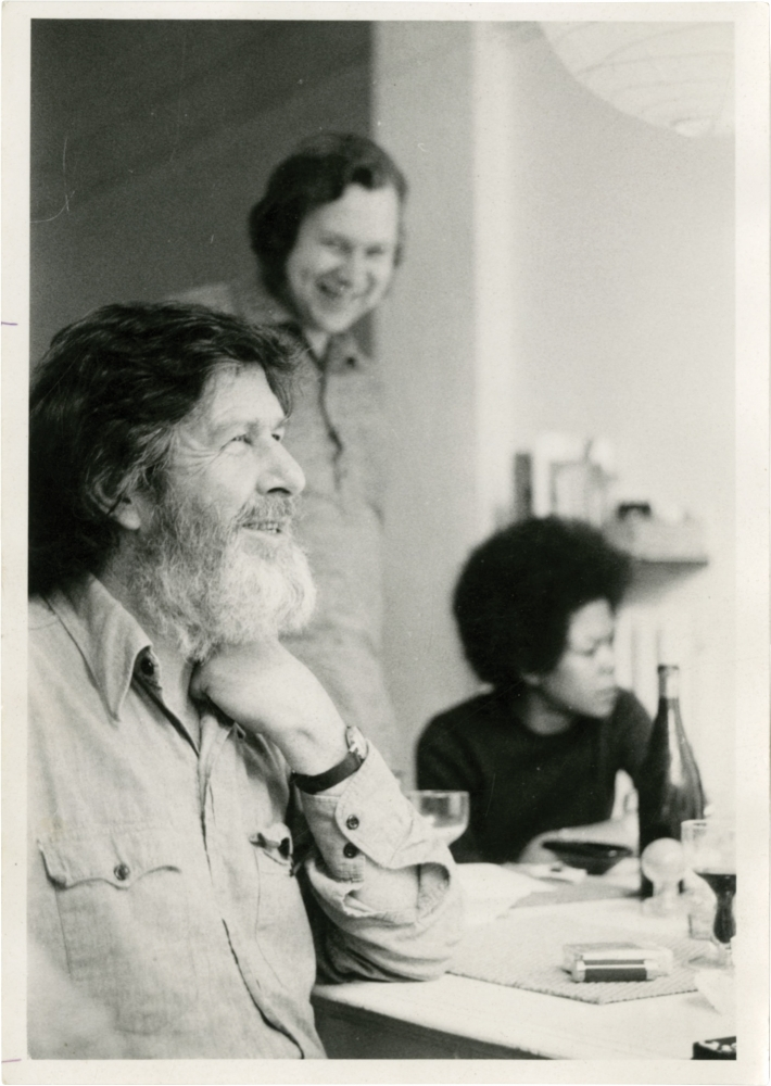 Two original photographs of John Cage in Brussels, 1972. John Cage, Jean Christiaens, subject, photographer.