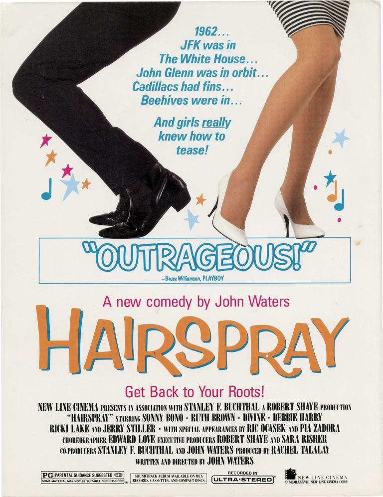 Hairspray. John Waters, Sonny Bono Ricki Lake, Divine, Jerry Stiller, Debbie Harry, Ruth Brown, screenwriter director, starring.