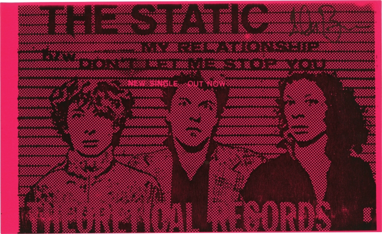 Original record release flyer for The Static, signed by Glenn Branca. The Static, Barbara Ess Glenn Branca, Christine Hahn.
