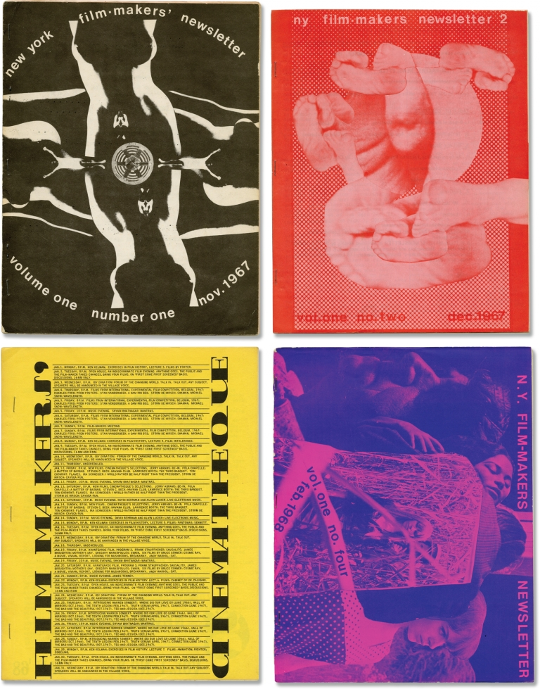 Archive of 41 issues of Filmmakers Newsletter, 1967-1971. Carl Linder, H. Whitney Bailey Suni Mallow, Stan Brakhage Jonas Mekas, Alan Lomax, Standish Lawder, Bill Plympton, Hollis Frampton, George Maciunas, Bruce Conner, founder, publishers, contributors.