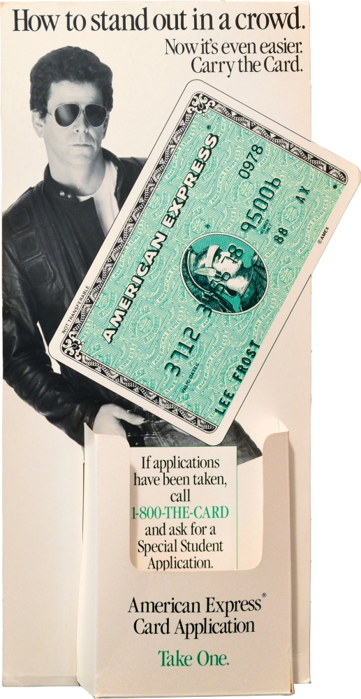 Original American Express display featuring Lou Reed. Lou Reed.